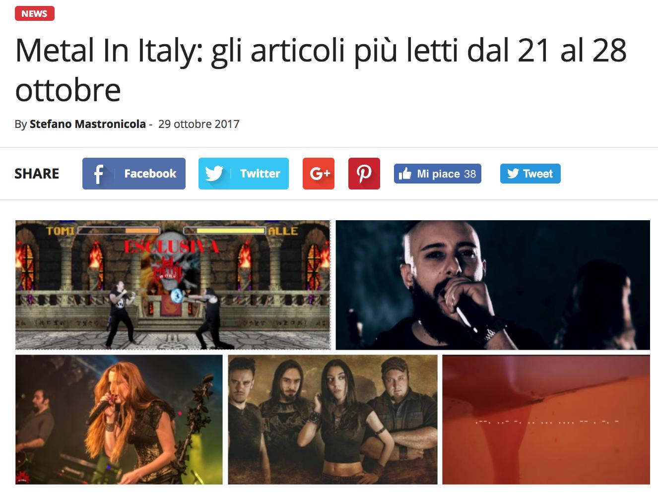 1° posto su Metal In Italy
